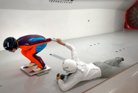 Lindsey Van, USA, practicing in a wind tunnel