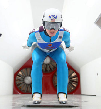 Abby Hughes, USA, practicing in a wind tunnel.