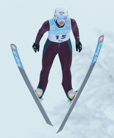 Abby Hughes, USA, in the air
