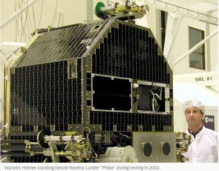 Warwick Holmes with the Rosetta lander 10 years ago!!!!