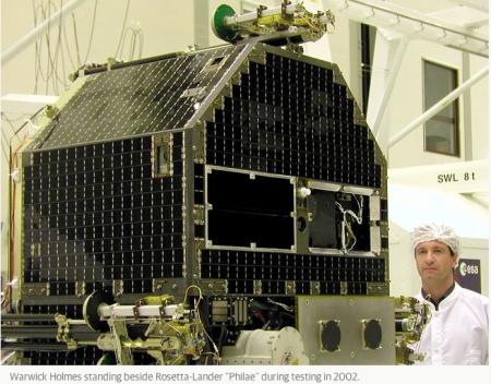 Warwick Holmes with the Rosetta lander 10 years ago!!!!