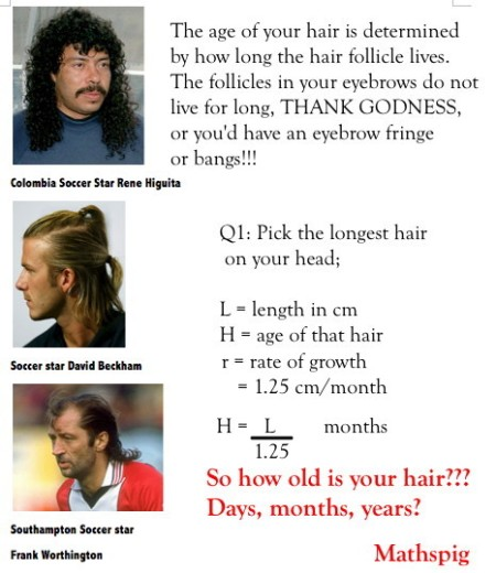 3 Mathspig how old is your hair!!!!