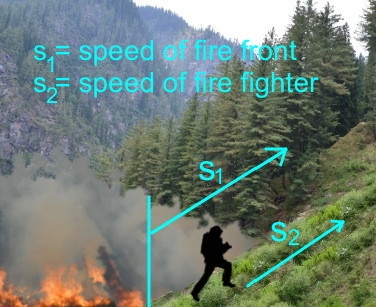Fire fighter running up mountain vector