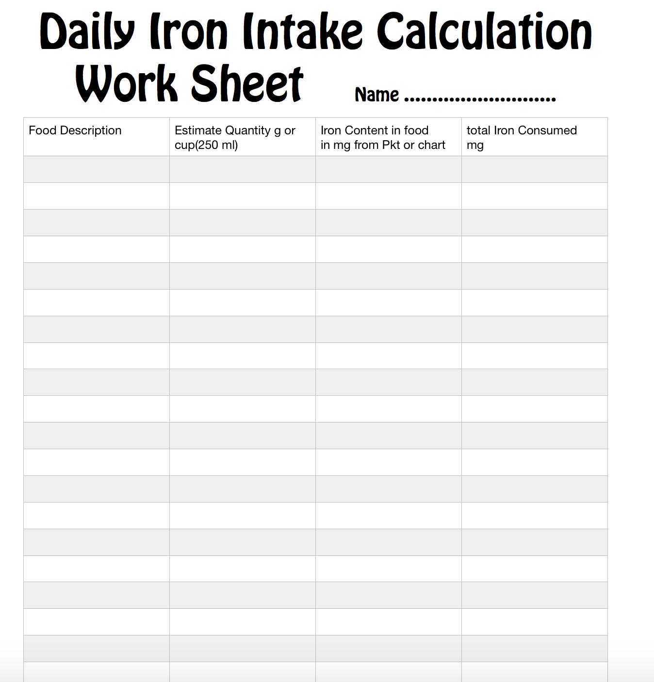 Units weight mathspig blog full page worksheet pdfdaily iron intake calculation work sheet geenschuldenfo Choice Image