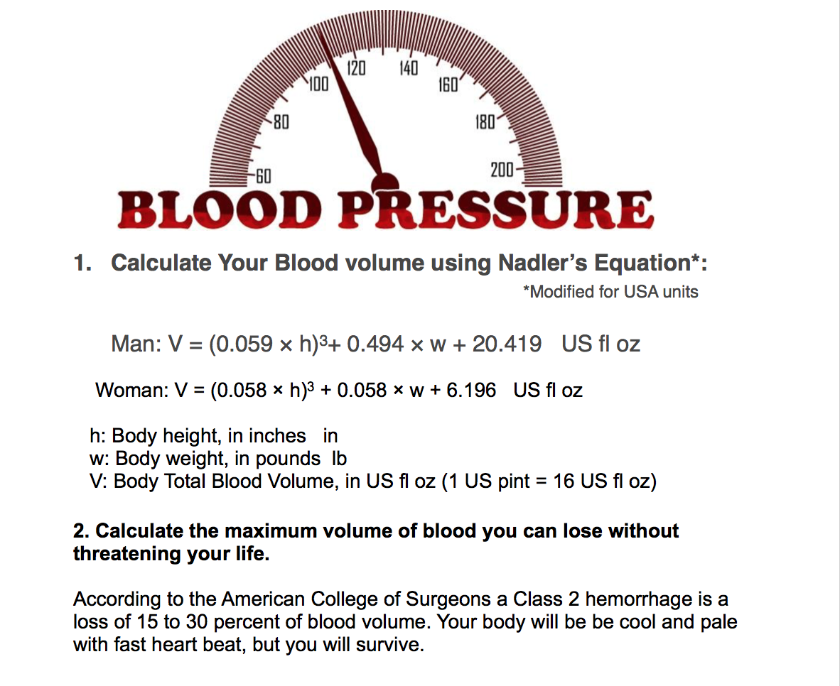 How much blood is in man 65